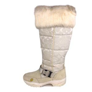 Coach 'Suzy' Apres Ski Fur Cuff Winter Boots 6.5M